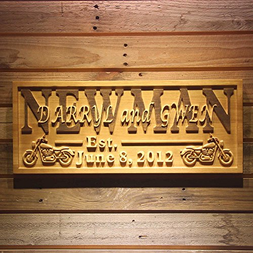 ADVPRO wpa0374 Motorcycle Gifts Family Name First Names Personalized with Established Date Wedding Gift Wood Engraved Wooden Sign - Medium 18.25