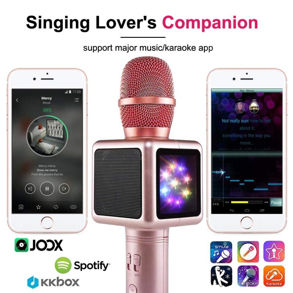 Rsiosle Wireless Bluetooth Karaoke Microphone with Disco Lights, Condenser Bluetooth Speaker Music Sing Play Karaoke Microphone Compatible with Android and iOS (Color : Gold) by Rsiosle (Image #5)