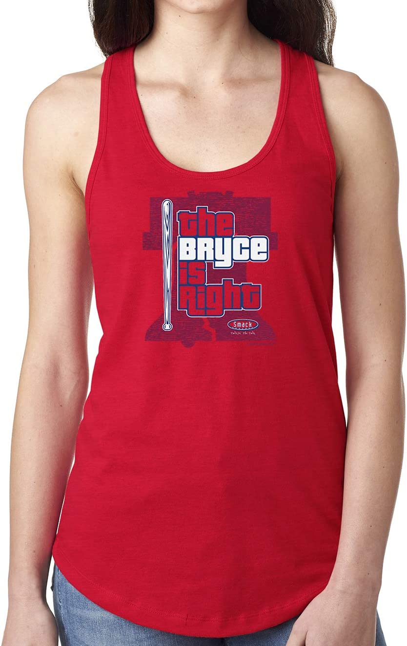 Sm-2x Smack Apparel Philadelphia Baseball Fans The Bryce is Right Red Ladies Shirt