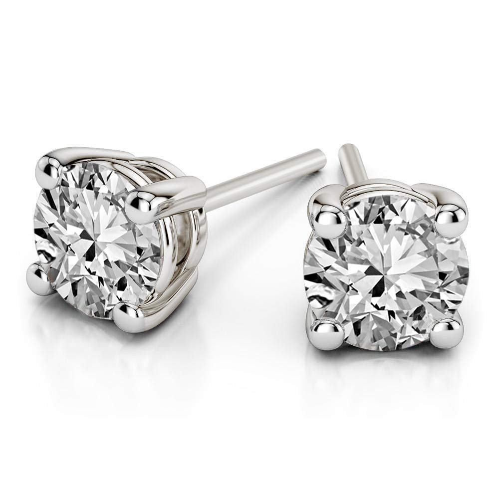 100% Pure Diamond Solitaire Stud Earring IGI Certified 3/4 ct Natural Diamond Earring For Women I1-I3-Clarity 14K White Gold Diamond Jewelry Gifts For Women (GH-Color) (Jewelry Gifts For Women)