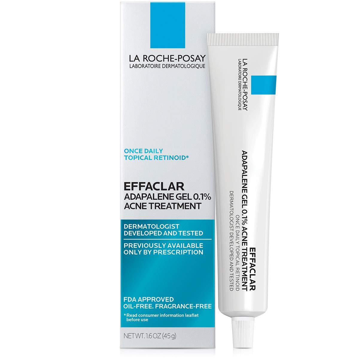 La Roche-Posay Effaclar Adapalene Gel 0.1% Acne Treatment, Prescription-Strength Topical Retinoid For Face, 1.6 Oz.