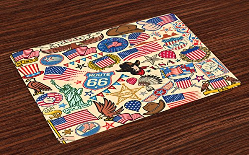 Lunarable Americana Place Mats Set of 4, Symbols of USA Dollar Eagle Sheriff Headdress Manhattan and Statue of Liberty, Washable Fabric Placemats for Dining Room Kitchen Table Decoration, ()