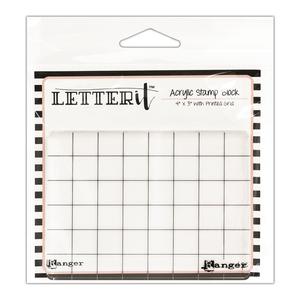 Ranger Letter It Acrylic Stamping Block 4X3 LET60888