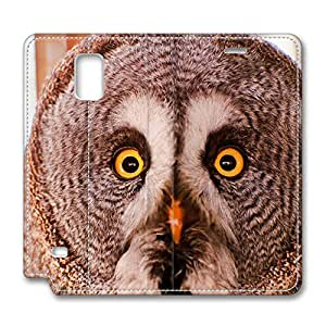 Samsung Galaxy Note 4 Leather Cases - NEW DESIGN LEATHER / Owl Portrait Folding Leather Folio Samsung Galaxy Note 4 Stand Case / Slim Fit Skin Cover for Samsung Galaxy Note 4