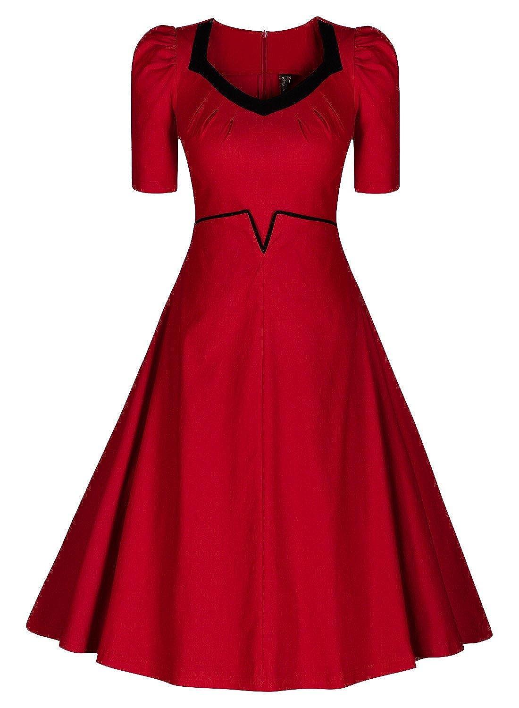 Miusol® Damen Kurzarm V-Ausschnitt Faltenrock Retro Cocktailkleid 70er Jahr Party Abendkleid Rot EU 36-48