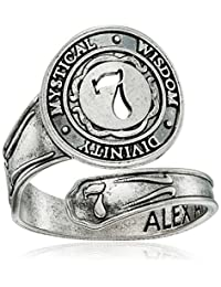 """Alex and Ani """"Numerology"""" Number, Sterling Silver Spoon Ring, Size 7-9"""
