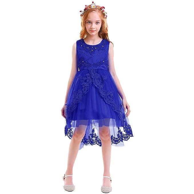 81399d92e2 OBEEII Vestido Asimétrico Elegante de Niña Vestidos Multicapa Ropa Verano  Disfraz de princesa para Boda Madrina Fiesta Ceremonia Comunión Cumpleaños  ...