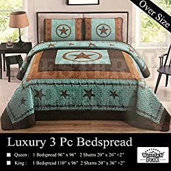 Western Peak 3 Piece Western Texas Star Barb Wire Style Quilt Bedspread with Pillow Shams (Turquoise, Queen)