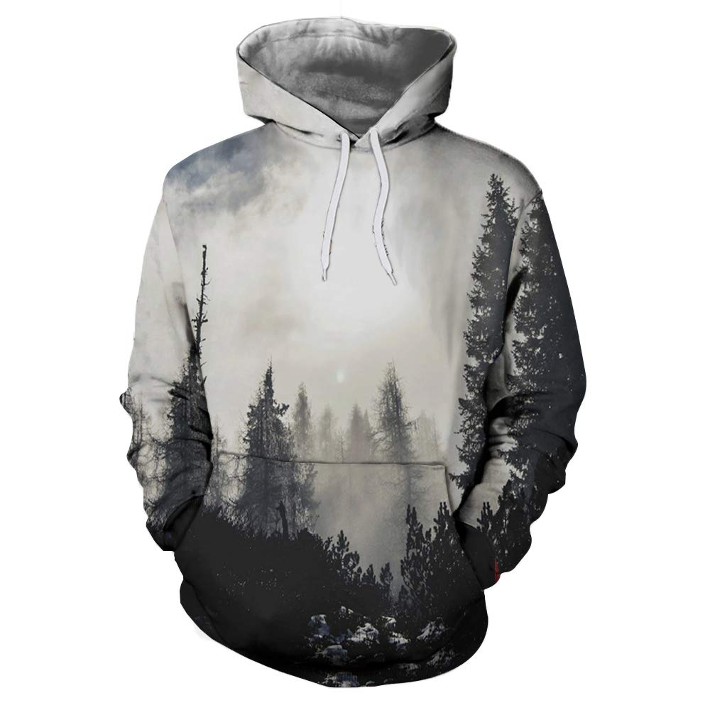 JHGFRT Männer Hoodie 3D Reise Landschaft Print Pullover Frauen Pullover Pullover Leichte Sweatshirt-Tasche,D-XL