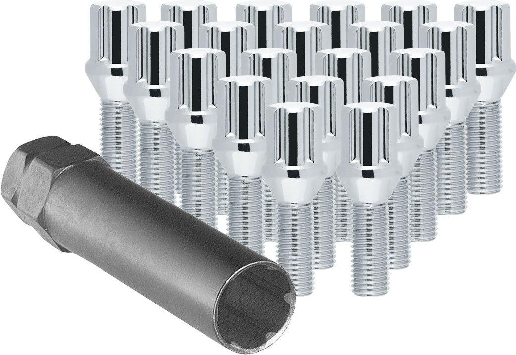 CECO Chrome Spline Drive Tuner Bolt Installation Kit (20 Lug Bolts & 1 Key) 14x1.25 R.H. Thread Pitch 1.1' Thread Length CD18
