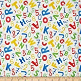 Fabri-Quilt Back to School Letters White Fabric By The Yard, White