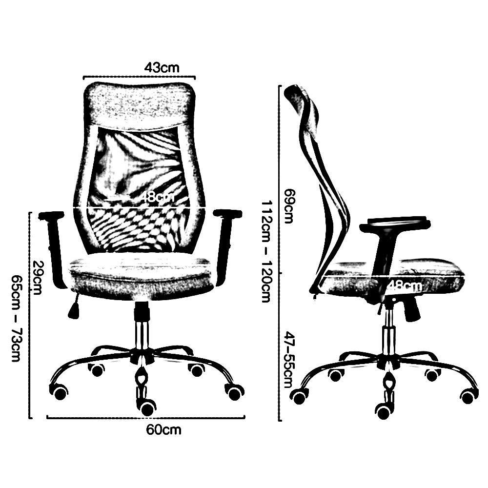 ZZHF Svängbar stol, hushåll dator stol arbetsrum lyftstol ergonomisk svängbar stol lyftstolar, ryggstöd stol (färg: Svart) Svart