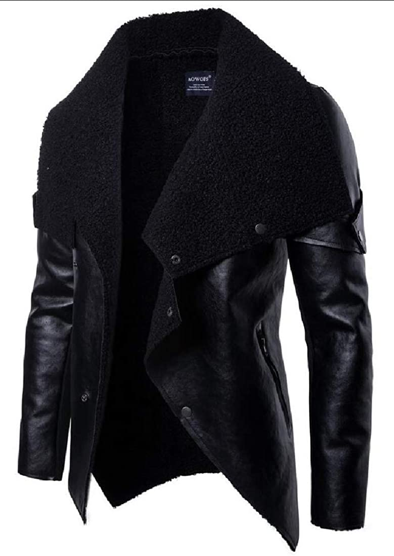 ONTBYB Mens Slim Fit Snap Button Irregular Hipster Faux-Leather PU Jackets