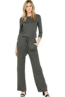 Amazoncom Annabelle Womens Casual Short Sleeve Jumpsuit Elastic