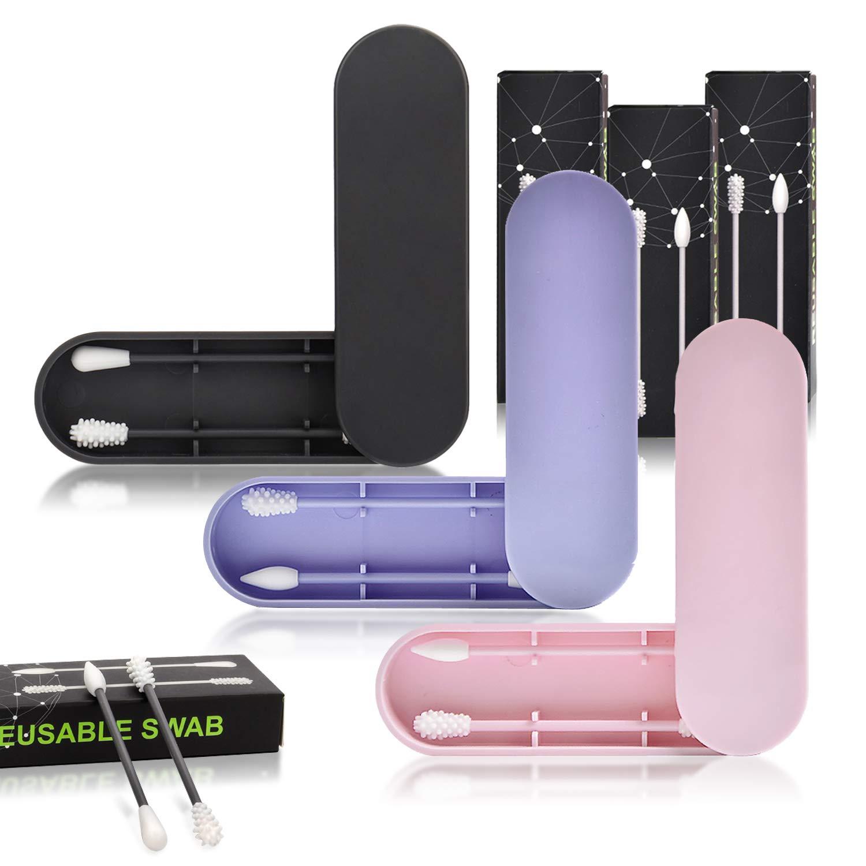 Negro + azul + rosa 3 Cajas Bastoncillo de Algod/ón Reutilizable,Lavable Silicona Cabeza de doble Bastoncillos Maquillaje,Protecci/ón del Nedio Ambiente,Herramienta de Limpieza Belleza