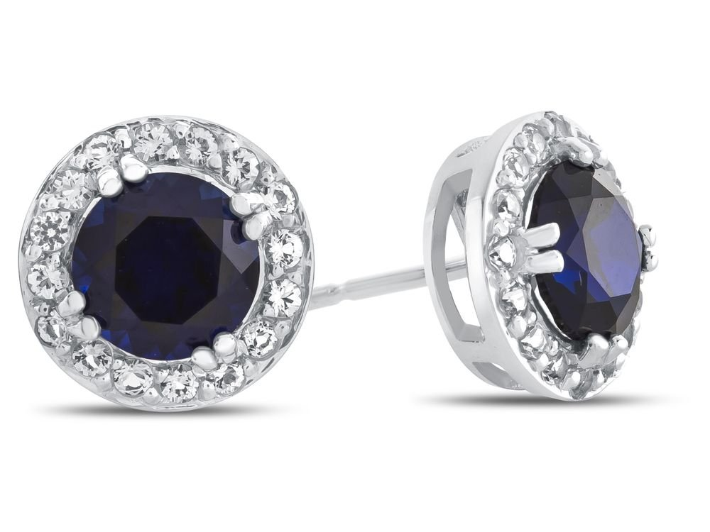 Finejewelers 10k White Gold 6mm Round Created Blue Sapphire with White Topaz accent stones Halo Earrings