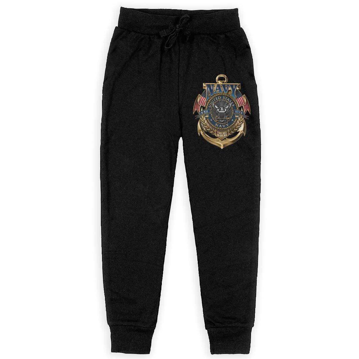 United States Navy The Sea is Ours Version Boys Sweatpants Youth Fleece Pants Boys Fleece Pants Black