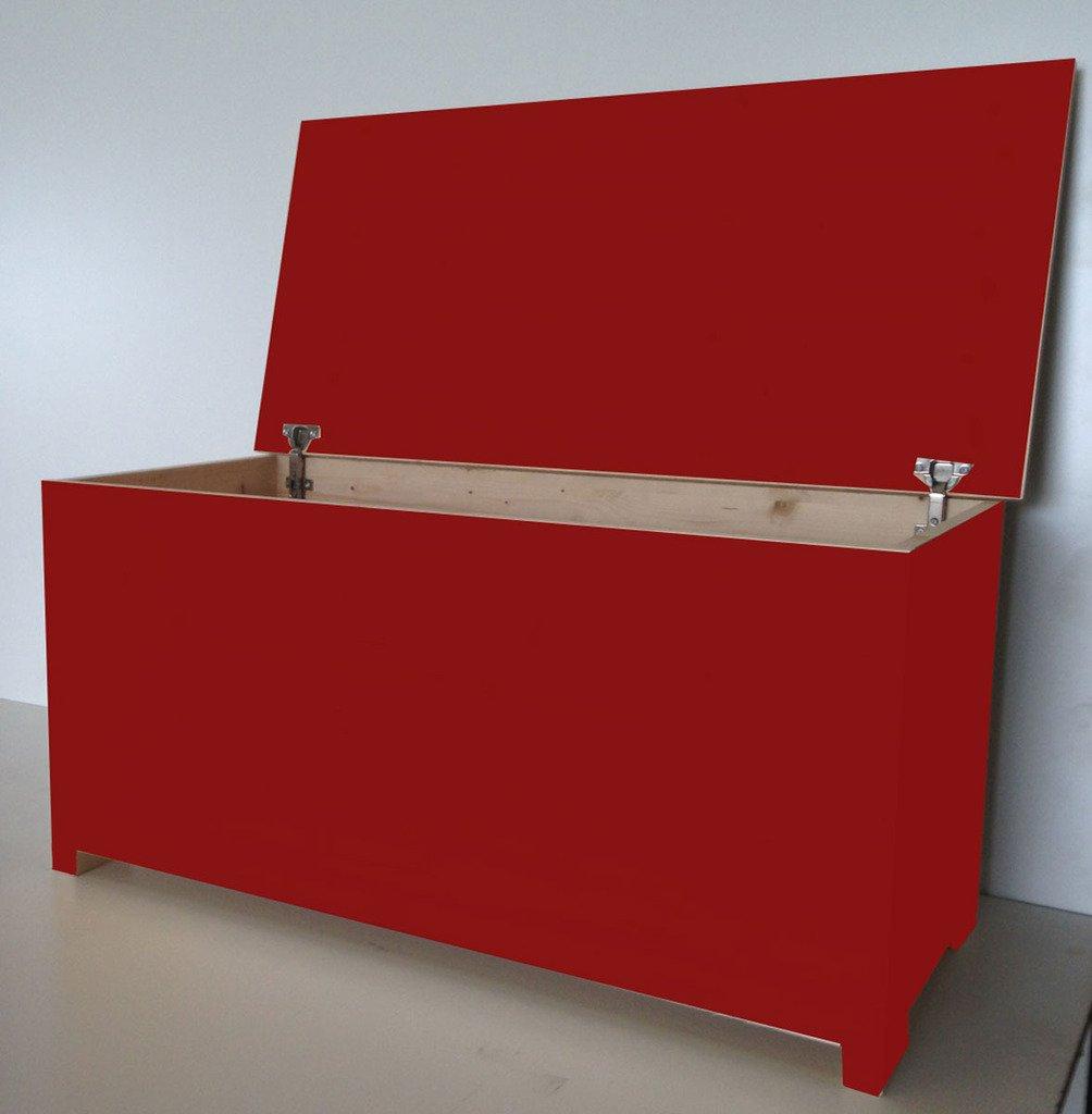 Amico Legno Cassapanca in Multistrato con Cerniera Interna cod 59 100x45x47 Smalto Ad Acqua Colore Rosso