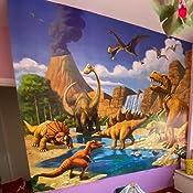 GREAT ART Carta da ParatiCamera dei Bambini 336 x 238 cm 8 Pezzi e Colla Inclusa Dinosauro per Bambini Decorazioni pareti Mondo dei Dinosauri Stile Cartone Animato Avventure