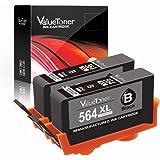 Valuetoner 2 Black Remanufactured Ink Cartridges for HP 564XL 564 XL CN684WN for HP Officejet 4620, Photosmart 7510 5520 5515 5510 B8550 D7560 D5460 Premium C410 C309A C310A, Deskjet 3520 3522 Printer