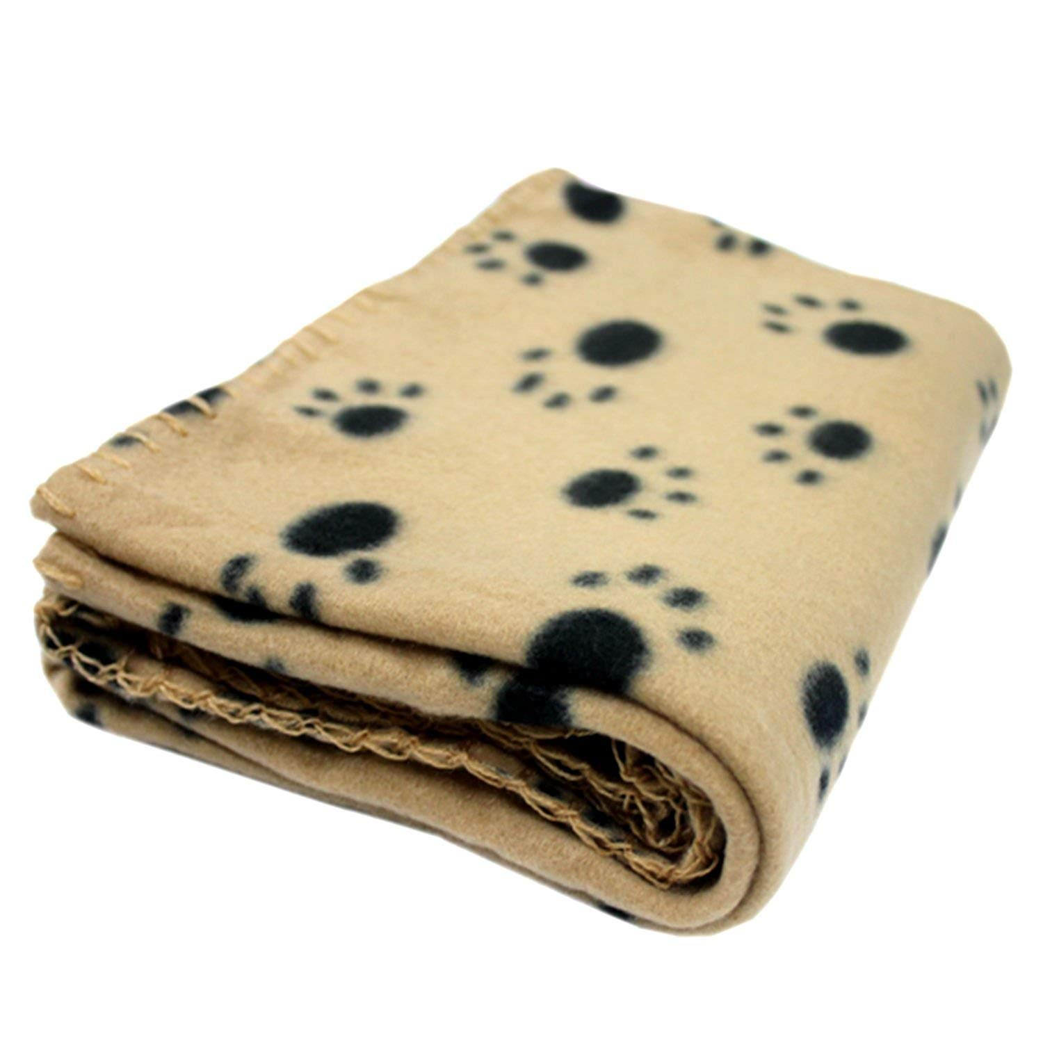ANDRE HOME Soft Fleece Pet Blanket for Cat and Dog Paw Printed Small and Medium (60x70cm, Brown) Pet Bed Blanket