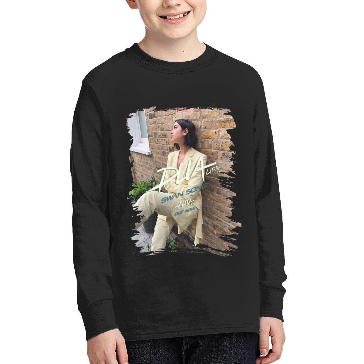 MichaelHazzard Dua Lipa Youth Casual Long Sleeve Crewneck Tee T-Shirt for Boys and Girls