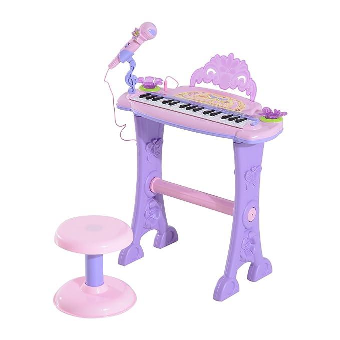 Homcom Teclado Electrónico Infantil 32 Teclas Juguete Musical con Micrófono Taburete Luces Variedad Sonidos Rítmos Melodias MP3 Karaoke Modo de Enseñanza ...