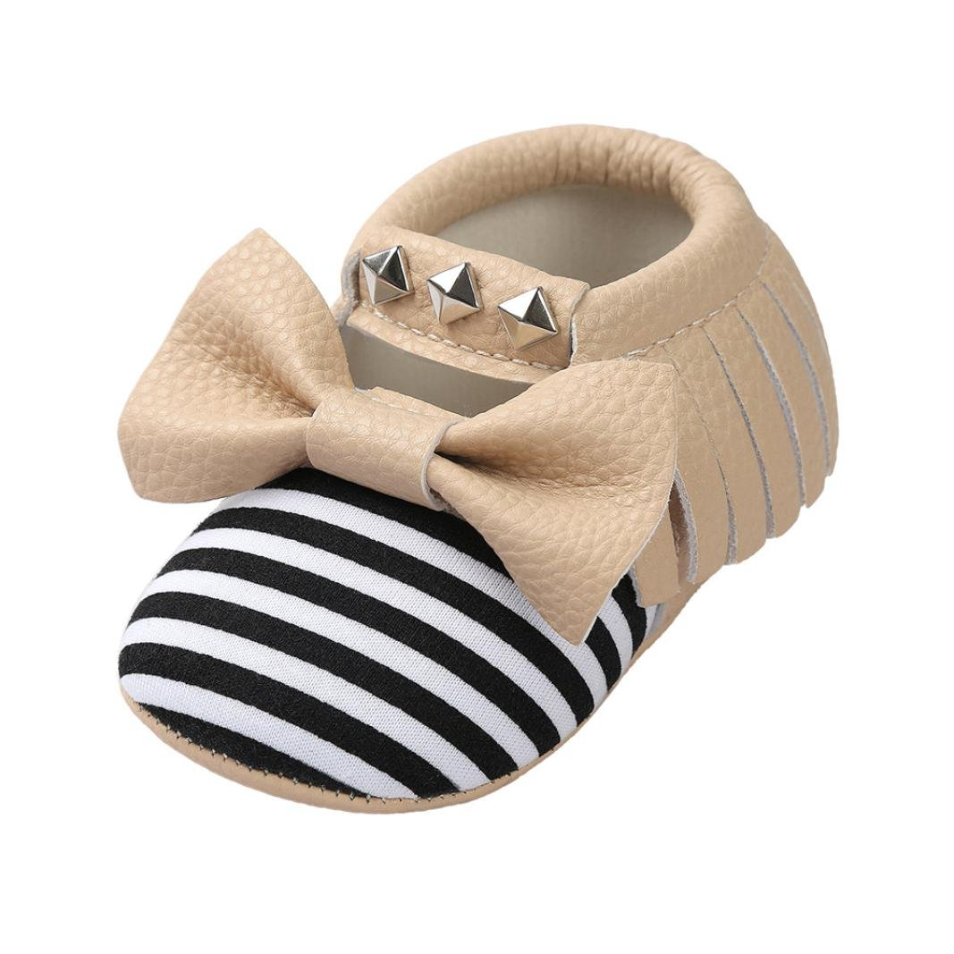 Voberry Baby Crib Bowknot Stripe Rivet Soft Sole Shoes Toddler Sneakers Casual Shoes