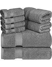 Utopia Towels - Premium Towel Set, Grey - 2 Bath Towels, 2 Hand Towels, and 4 Washcloths - 700 GSM Ring Spun Cotton Highly Absorbent Towels for Bathroom, Shower Towel (8 Pieces)