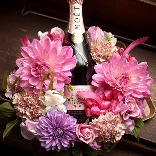 結婚祝い フラワーギフト 花とワイン 結婚記念日 ピンク 花 お祝い シャンパン 生花のフラワーリース とシャンパンモエフルボトル