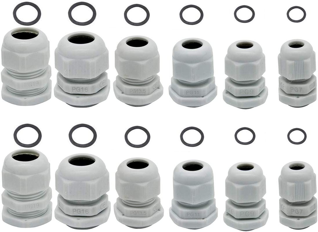 With Locknut Cable Gland 10 mm Nylon Pack of 10 IP65 Grey, PG11DG 5 mm Polyamide PG11