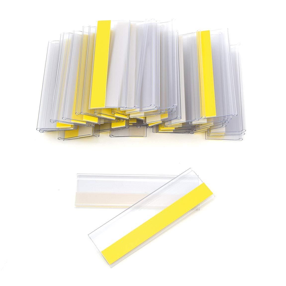 Selbstklebende Etikettenhalter für Einstecketiketten 300 mm Breit/Tickethalter/Etiketten Halter (18 mm Höhe, Transparent, 50 Stück)