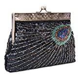 Lifewish Women's Unique Luxury Sequins Beaded Evening Bag Wedding Bridal Party Prom Clutch tote Handbag (Black)