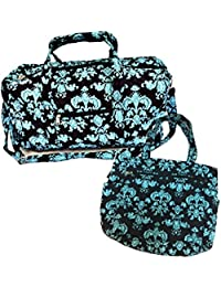 "22"" Quilted Duffel Cotton Carry On Bag with 13"" Beach Tote Bag"