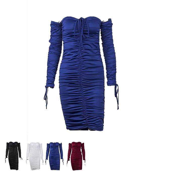 Amazon.com : Korowa Suéter de punto de manga larga de mujer sin mangas Vestido de noche de longitud completa de rodilla de color puro : Sports & Outdoors