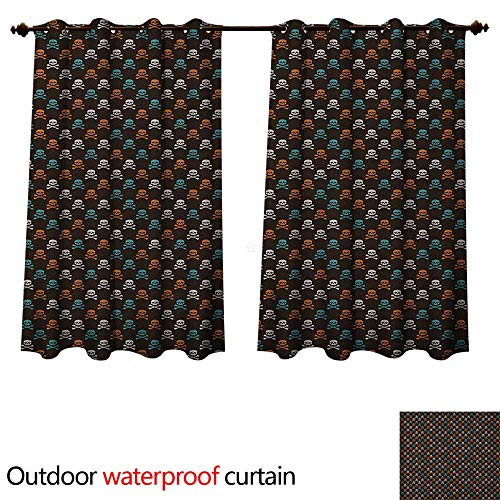 Anshesix Pirates Outdoor Curtain for Patio Different Colored Graphic Skull Figures with Bones on Black Background Halloween W96 x L72(245cm x 183cm) -
