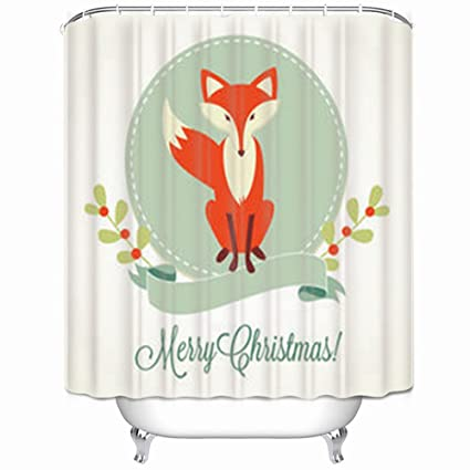 Amazon InnoDIY Shower Curtains Christmas Fox Frame Ribbon