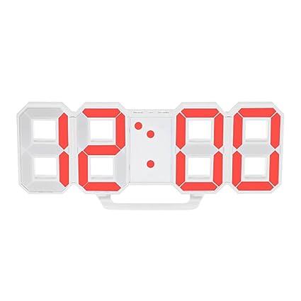 Moda Grande 8-Forma LED Reloj de Pared Digital Reloj Despertador con función Snooze 12
