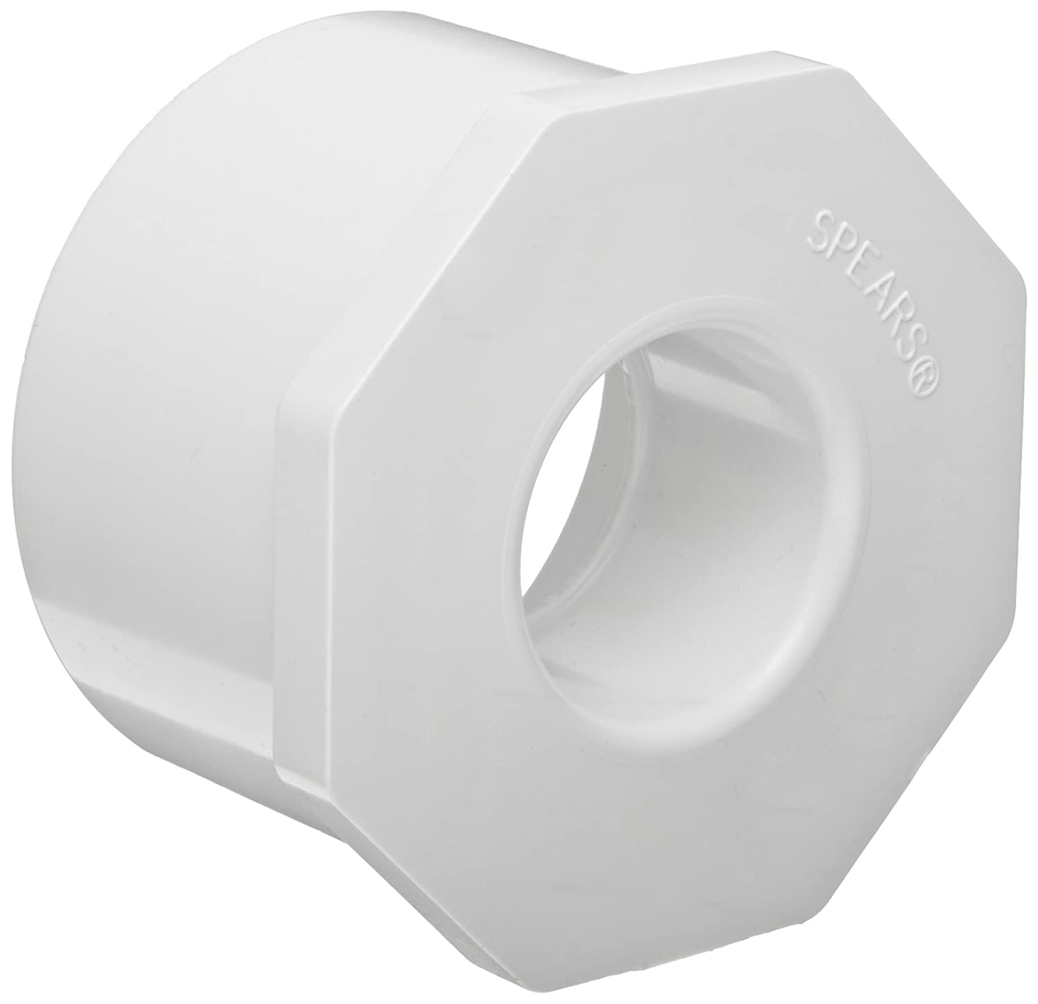 Spears 437 Series PVC Pipe Fitting, Bushing, Schedule 40, White, 1-1/2' Spigot x 1-1/4' Socket 1-1/2 Spigot x 1-1/4 Socket Spears Manufacturing