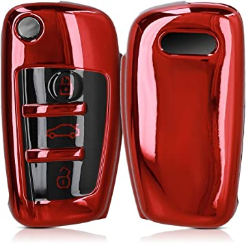 kwmobile Accessoire cl/é de Voiture pour Audi Coque pour cl/é Audi Pliable 3-Touches en Silicone Noir-Blanc-Rouge /Étui de Protection Souple