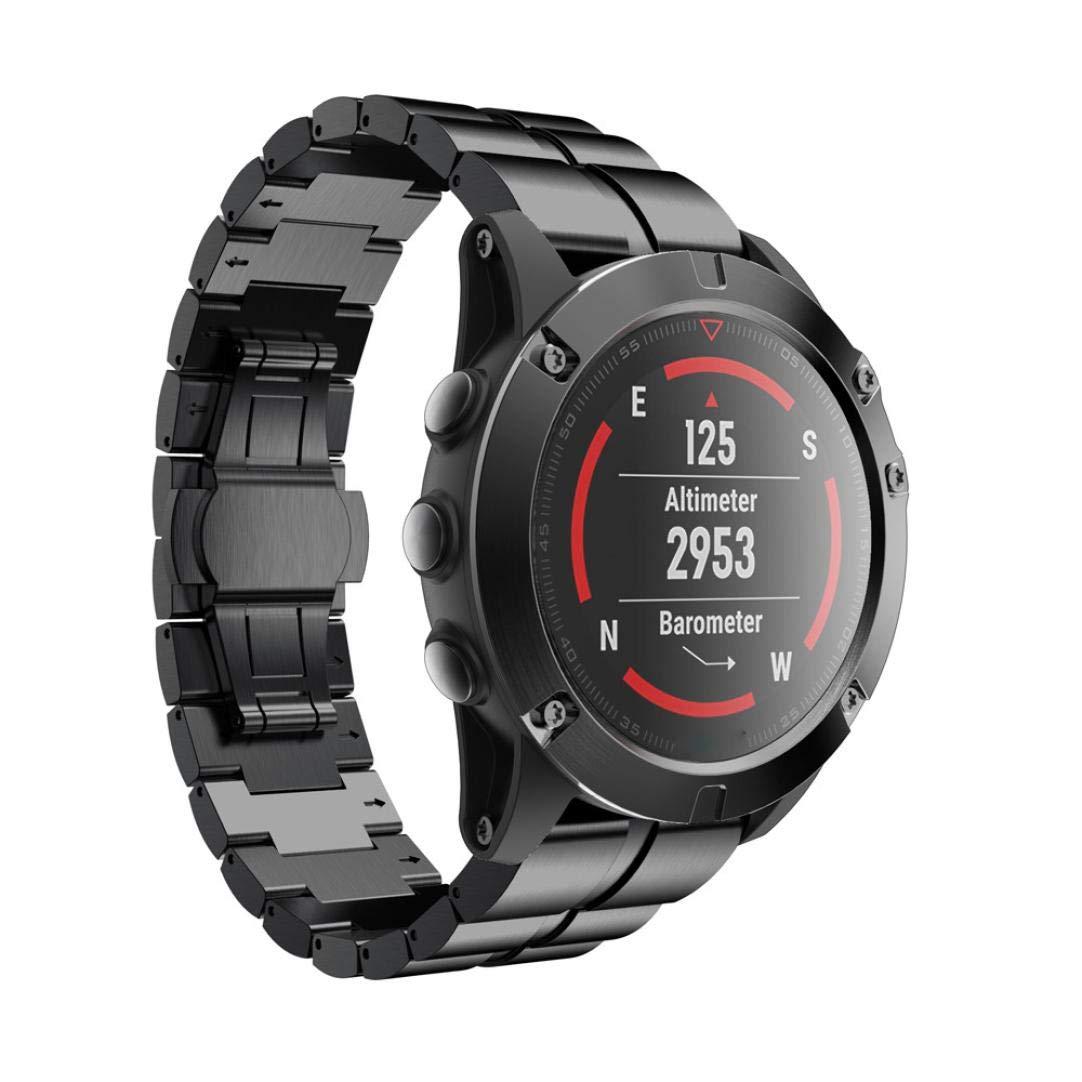Bestow Pulsera de Acero Inoxidable Garmin Fenix 5X Reloj Correa de Banda de la Correa de Liberaciš®n rš¢pida Reloj Elegante Electrš®nica Gadgets(Negro): ...