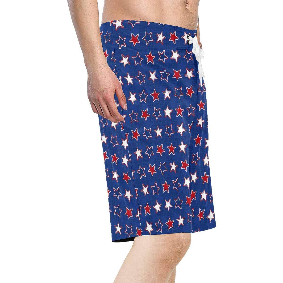 INTERESTPRINT Mens Beach Shorts White Red Blue Stars Quick Dry Swim Trunks XS-6XL