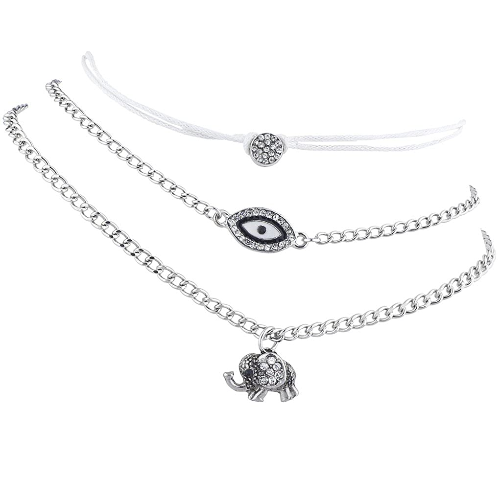 Lux Accessories Silver Tone Boho Evil Eye Elephant Novelty Charm Anklet Set 3pcs A170957-3PA-A20