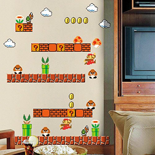 HomeEvolution Giant Super Mario Build a Scene Peel and Stick Wall Decals Stickers for Kids Boys Nursery Wall Art Room - Sheet Sticker Nintendo