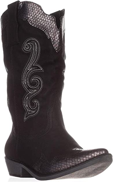 Womens Fashion Pull On Mid Calf Riding Boots Low Heel Faux Suede Cowboy Boots Sz