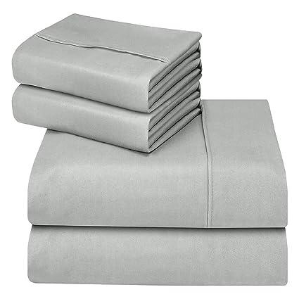 Oakome Parure de Lit 4 Pièces Drap Housse-Draps Plat-2 Taies d'oreiller 1800 Thread Count Souple avec 100% Polyester Kit de Literie Hypoallergénique (Carbon Gray, 200 * 245-140 * 190-50 * 75cm)