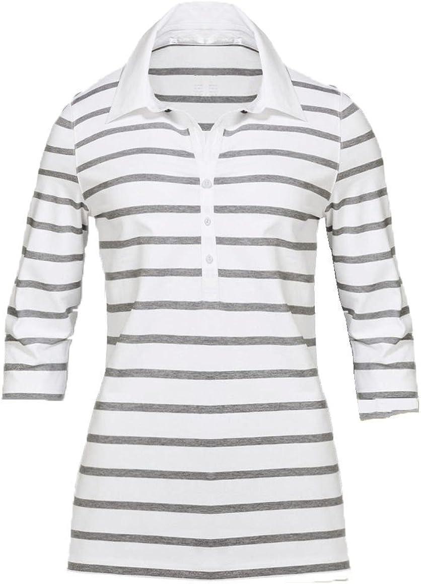 Gelb und Wei/ß mit grauen Streifen Gr/ö/ßen M-XL Modisches Damen Polo Shirt mit 3//4 Arm in Navy Blau