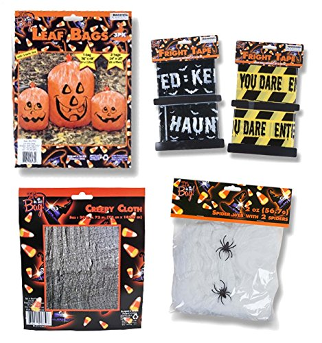 Halloween Decor House (Outdoor Haunted House Halloween Decor Set - Pumpkin Lawn Leaf Bags, Spider Web, Creepy Cloth and Caution Tapes)