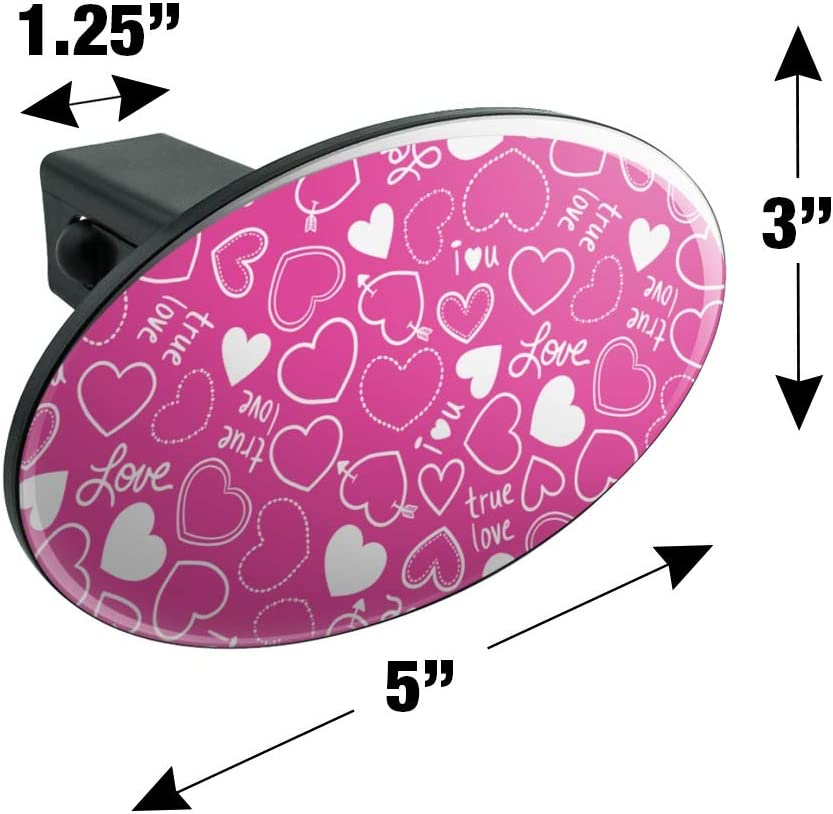 Graphics and More Cute Hearts Love Pattern on Pink Oval Tow Trailer Hitch Cover Plug Insert