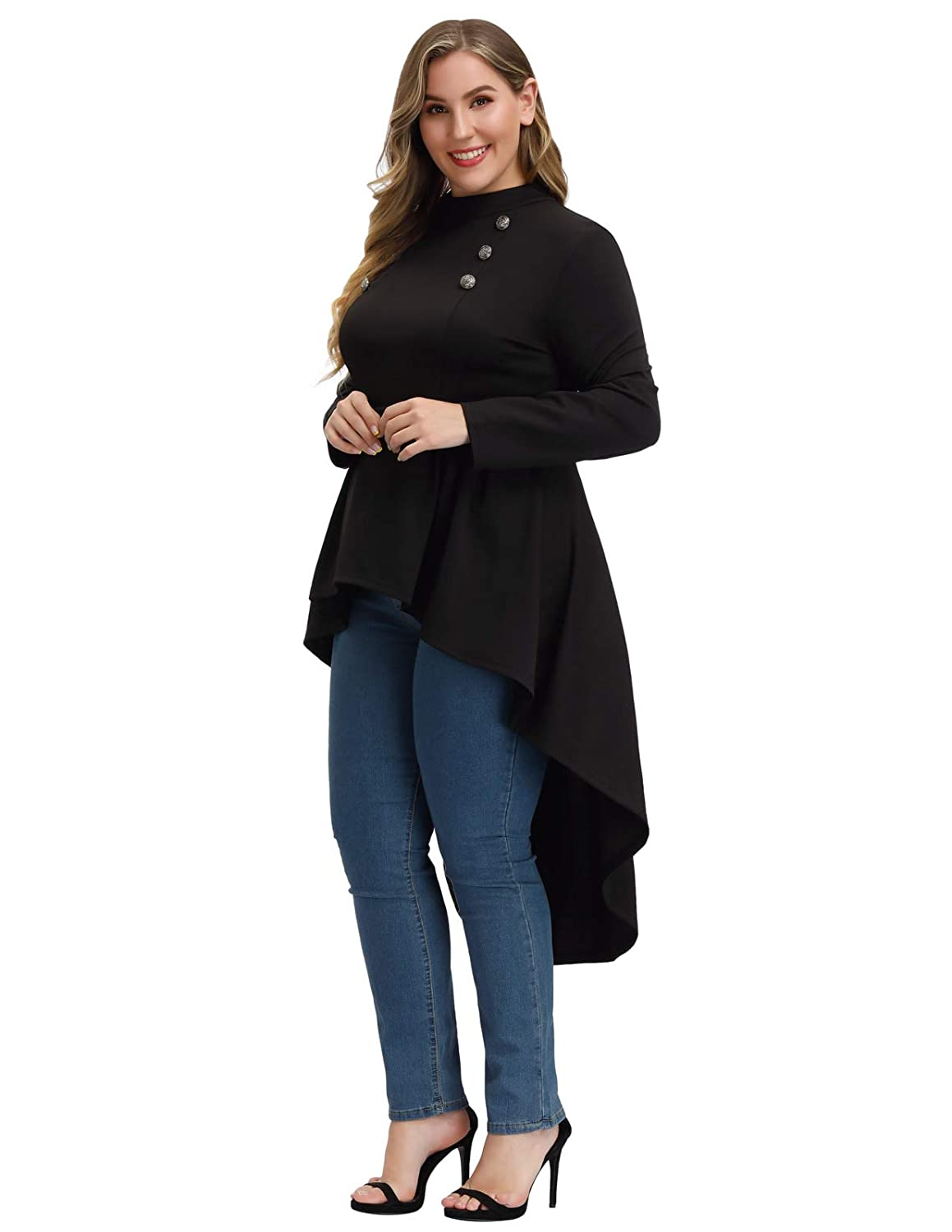 Steampunk Plus Size Clothing & Costumes Woman Plus Size Steampunk Shirt Gothic Victorian Long Sleeve Blouse Top $30.99 AT vintagedancer.com